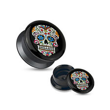 Ear Gauges Plugs Pair blue eyes Sugar Skull Black Acrylic Stash Screw Fit Plugs