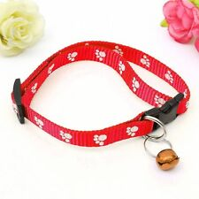 Pet Cat Kitten Collar Adjustable Nylon Paw Print With Bell