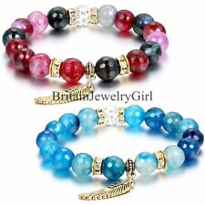 """Angel Wing Womens 10mm Alloy Man-made Agate Beads Elastic Link Bracelet 8.26"""""""