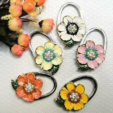 Daisy Flower Shape Rhinestone Folding Purse Handbag Hanger Table Hook Holder New