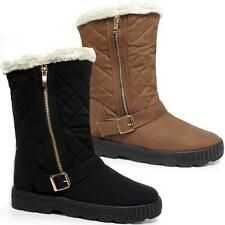 Womens Ladies Quilted Faux Fur Lined Thick Sole Mid Calf Boots Winter Shoes Size
