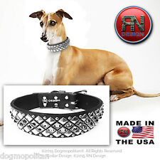 RN Design :: Glass Cabochon Studded Dog Collar :: LEATHER :: CUSTOM USA HANDMADE