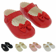 BABY GIRL SHOES | Soft Sole First PRAM SHOES | Black Cream Pink Red White | B604