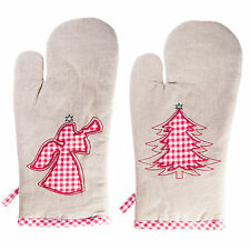 'Merry Christmas' Kitchen Household Serving Oven Glove Mitt - Angel or Tree