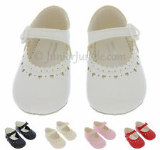 BABY GIRL SHOES | Soft Sole First PRAM SHOES | Black Cream Pink Red White | M803
