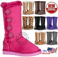 New Girls Kids Four Button Faux Fur Lined Shearing Snow Winter Classic Boots