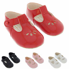 BABY GIRL SHOES | Soft Sole First PRAM SHOES | Black Cream Pink Red White | B617