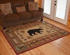 Southwest Border Bear Cabin Lodge Area Rug~2x3~5x8~8x10 5' & 8' Round 2x8 Runner