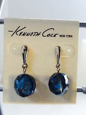 Kenneth Cole Silver Tone Round Blue Crystal Bead Drop Stud Earrings
