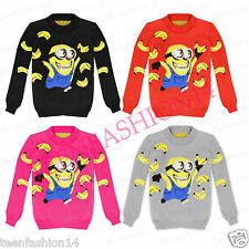 Boys Girls Kid Minion Despicable Me Banana Fun Xmas Retro Novelty Jumper Knitted