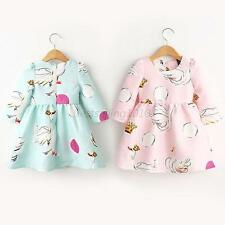 Baby Kids Girls Princess Party Long Sleeve Swan Print Tutu Dress Skirt 2-7Y B68