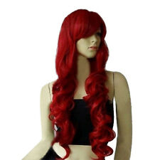 New style Dark Wine Red Fashion Long Wave Curly Wavy Women's Girl Full Hair Wigs