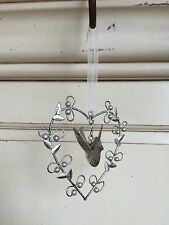 Silver Bird in Beaded Love Heart Hanging Decoration Shabby Vintage Wedding Gift