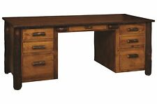 Amish Rustic Hickory Executive Desk Solid Wood Home Office Furniture