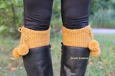 HANDKNIT pom pom leg warmers, boot cuffs, boot toppers, 100%wool, from EUROPE