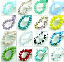 new 20pcs Rondelle Faceted Crystal Glass Jade Porcelain Loose Beads 10mm