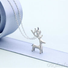 Xmas Gift Girl Women Lady Silver Plated Moose Elk Reindeer Deer/Cat Necklace