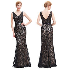 Womens Formal Sequined V-Neck Long Cocktail Party Evening Gown Dress Plus Size