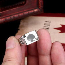 Cool Mens Jewelry Poker Ace of spades 316L Stainless Steel Ring Sz 7-13