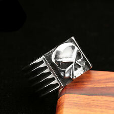 Mens Jewelry Motorcycle Style Skull 316L Stainless Steel Band Ring Sz 7-12