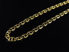 Men's 14K Solid Yellow Gold 3MM Flat Mariner Link Style Chain 16-24 Inches