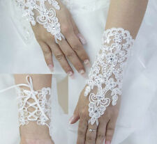 New Sexy Wedding Bridal White Ivory Fingerless Beaded Lace Gloves Accessory