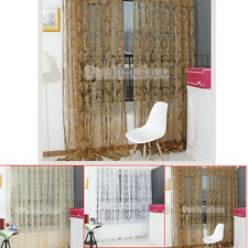Retro Flocked Floral Voile Window Curtain Sheer Tulle Drapes Divider Panal