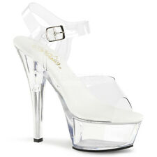 "PLEASER Sexy Stripper Dancer Clear Platform Vegan 6"" Heels Shoes KISS208VL/C/M"