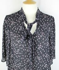 ex George Asda  Ladies Woven Top in Small Hearts Prints Hip Length 1/2 Sleeve