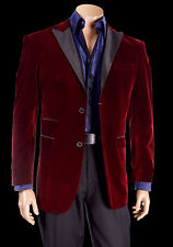 Mens Sophisticated Burgundy High Grade Velvet Tuxedo Blazer Jacket Inserch 525