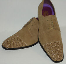 Mens AM 6576 Khaki Taupe Tan Oxford Dress Shoes Suade Suede Feel & Sewn Detail