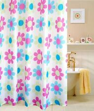 "71"" Pink Blue Natural Waterproof Colored Flowers Bath Bathroom Shower Curtain"