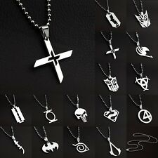 New Super Heroes Anime Necklace Stainless Titanium Steel Silver Pendant Necklace