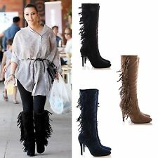 LADIES WOMENS FRINGE TASSEL BOOTS HIGH HEEL LONG LEG SUEDE STRETCH SHOES SIZE