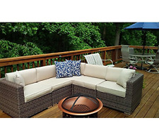 6 Pcs Modern Outdoor Patio Rattan Wicker Sectional Furniture Sofa Set Deck Couch