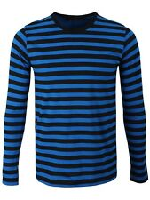 Striped Long Sleeved Men's Black and Blue T-shirt