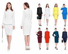 MARYCRAFTS WOMENS LADY OFFICE BUSINESS PARTY COCKTAIL PEPLUM PENCIL DRESSES