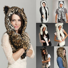 Unisex Faux Fur Animal Women Men Hat With Long Scarf Pocket Paws Beanies Gloves