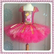 Pink and Gold Peppa Pig Tutu Dress Sparkly Glitter Sequins Birthday Girl Party