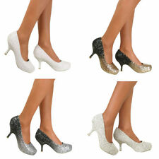Ladies Kitten Heel Diamante Mid Platform Bridal Wedding Prom Party Shoes Size