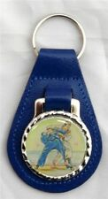 JUDO LEATHER KEY FOB RING CHOICE OF 3 COLOURS - BLACK, BLUE OR RED NEW