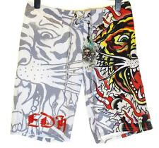 Bnwt Authentic Mens Ed Hardy Board Swim Surf Shorts Burning Tiger New White