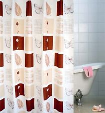 """71"""" Waterproof Butterfly Leaf Plaids Check Bath White Brown Shower Curtain Decor"""