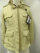 BLAUER USA Men's Leather Coat Winter Jacket Cream Moto Casual Made In Italy M
