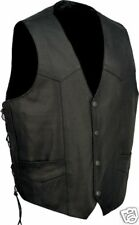 Unik Mens Motorcycle Biker Vest Tradtional Leather Front Snap Side Lace