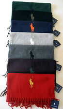NWT Polo Ralph Lauren Men's Fringed Scarf Muffler 100% Wool Big Pony Logo Italy