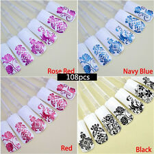 108PCS 3D Flower Stickers Nail Decal Art Tip stamping Manicure DIY Decoration GG