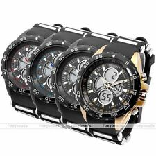 OHSEN LCD Sport Quartz Rubber Band Dial Wrist Watch Analog Stopwatch 3ATM Proof