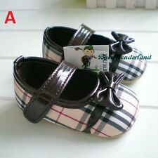 NWT Baby Girls Classic Checked Design Soft Toddles Shoes Prewalkers Size 0-18m