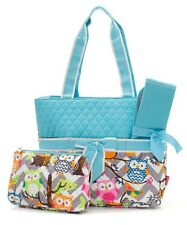 Personalized Gray Chevron Owl Quilted Diaper Bag 3 pieces set Monogrammed